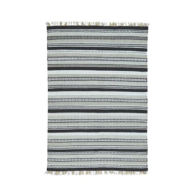 Flat Weave Reversible Kilim Striped Hand-Knotted Dark Blue/Gray Area Rug