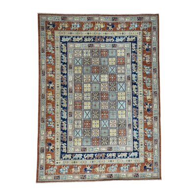 Pazyryk Historical Oriental Hand-Knotted Light Brown/Blue Area Rug Rug Size: Rectangle 88 x 12