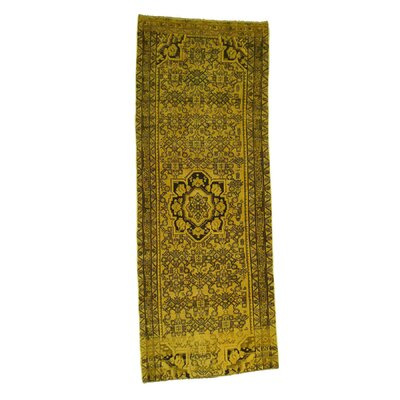 Overdyed Hamadan Worn Oriental Hand-Knotted Yellow Area Rug