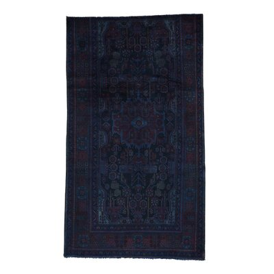 Overdyed Nahavand Worn Oriental Hand-Knotted Blue Area Rug