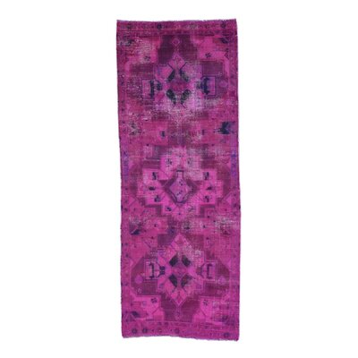 Overdyed Hamadan Worn Hand-Knotted Pink Area Rug