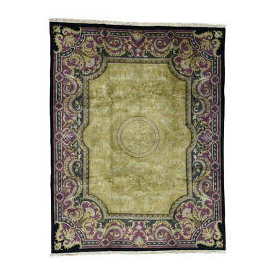 European Nepali Oriental Hand-Knotted Yellow Area Rug