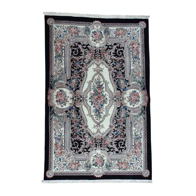 Louis Philip European Hand-Knotted Ivory Area Rug