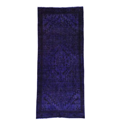 Overdyed Hamadan Hand-Knotted Purple Area Rug