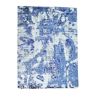 High and Low Abstract Hand-Knotted Silk White/Blue Area Rug