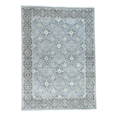 Oidized Mughal Inspi Medallions Hand-Knotted Silk Gray Area Rug