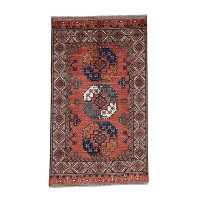 Elephant Afghan Ersari Oriental Hand-Knotted Red Area Rug