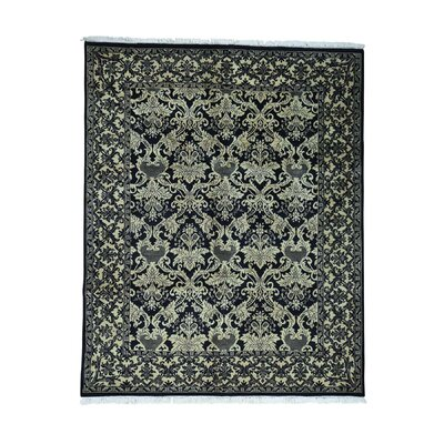 William Morris Oriental Hand-Knotted Black Area Rug
