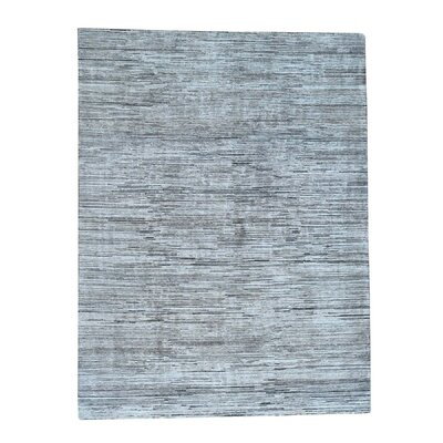 One-of-a-Kind Edelstein Oidized Striped Oriental Hand-Knotted Silk Area Rug