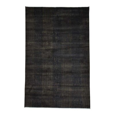 Tone on Tone Nepali Oriental Hand-Knotted Silk Brown Area Rug