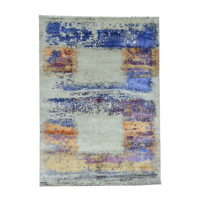 One-of-a-Kind Eddins Abstract Oriental Hand-Knotted Silk Area Rug