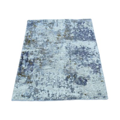 Hi and Low Abstract Hand-Knotted Silk Gray Area Rug