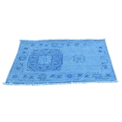 Overdyed Khotan Oriental Hand-Knotted Blue Area Rug