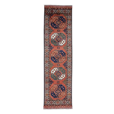 Afghan Ersari Turkoman Elephant Hand-Knotted Red Area Rug Rug Size: Runner 210 x 101