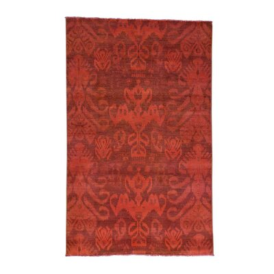 Cast Overdyed Ikat Oriental Hand-Knotted Red Area Rug