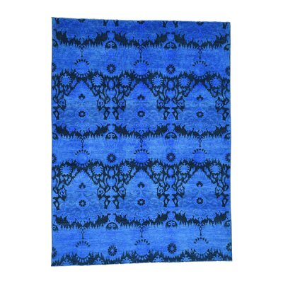 Ikat Overdyed Oriental R35007 Hand-Knotted Blue Area Rug