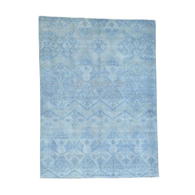 Overdyed Ikat Oriental Hand-Knotted Blue Area Rug