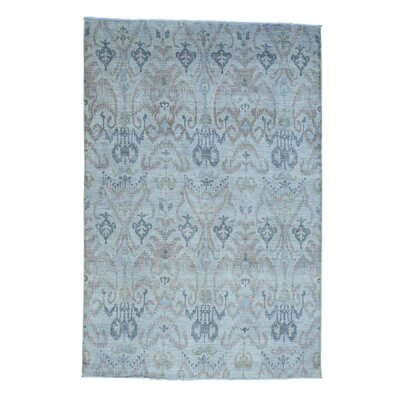 Ikat Overdyed Oriental Hand-Knotted Gray Area Rug