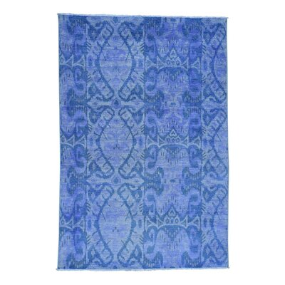 Cast Ikat Overdyed Oriental Hand-Knotted Purple Area Rug
