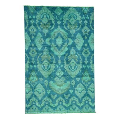 Cast Ikat Overdyed Oriental Hand-Knotted Teal Area Rug