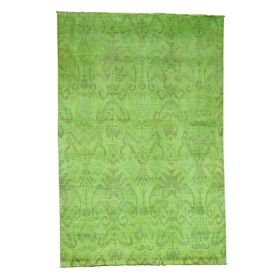 Cast Ikat Overdyed Oriental Hand-Knotted Green Area Rug