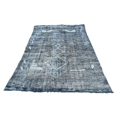 One-of-a-Kind Greenawalt Overdyed Hamadan Worn Oriental Hand-Knotted Area Rug