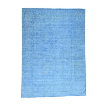 Khotan Overdyed Oriental Hand-Knotted Blue Area Rug