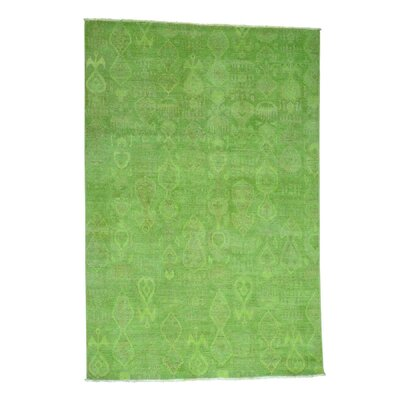Cast Overdyed Ikat Oriental Hand-Knotted Green Area Rug