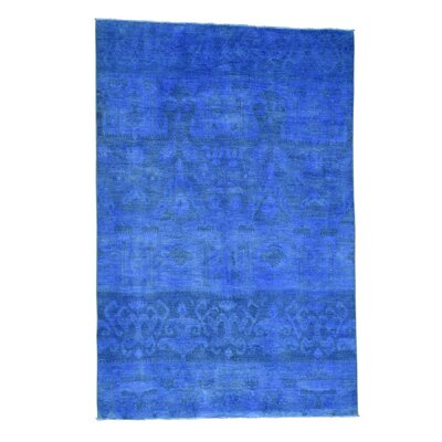 Cast Ikat Overydyed Oriental Hand-Knotted Blue Area Rug