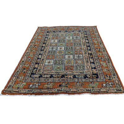 Pazyryk Historical Oriental Hand-Knotted Wool Orange/Blue Area Rug
