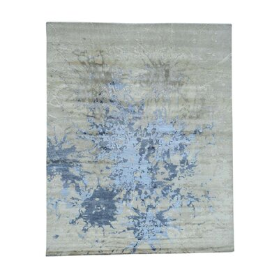 Hi and Lo Splash Abstract Hand-Knotted Wool Beige Area Rug