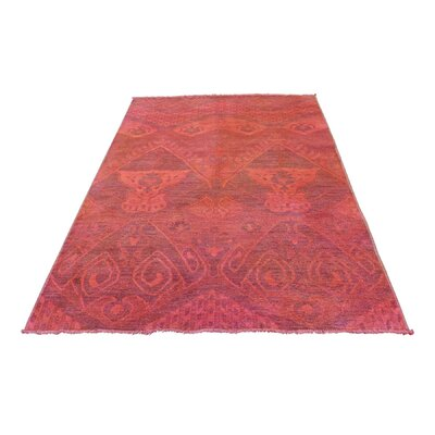 Overdyed Ikat Oriental Hand-Knotted Wool Red Area Rug