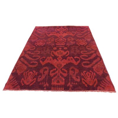 Cast Ikat Overdyed Oriental Hand-Knotted Red Area Rug