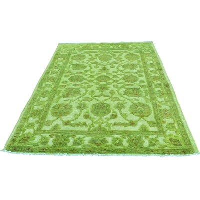 Overdyed Hi and Low Oriental Hand-Knotted Green Area Rug