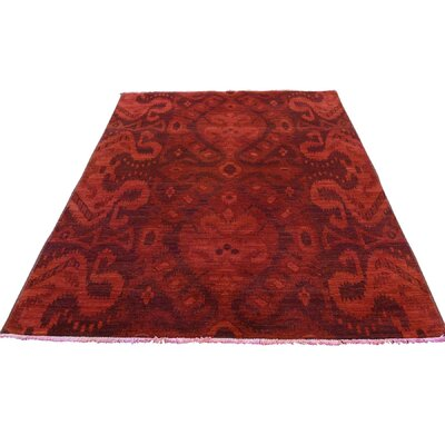 Overdyed Oriental Hand-Knotted Red Area Rug