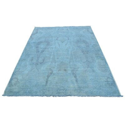 Ikat Overdyed Cast Oriental Hand-Knotted Blue Area Rug