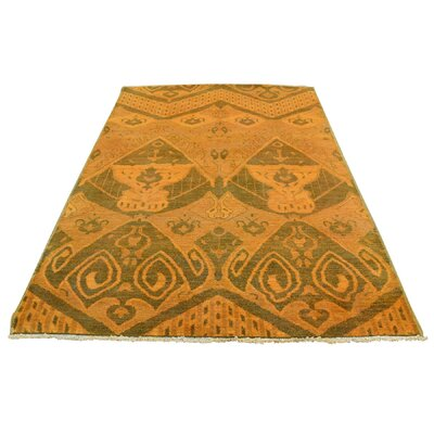 Cast Ikat Overdyed Oriental Hand-Knotted Orange Area Rug