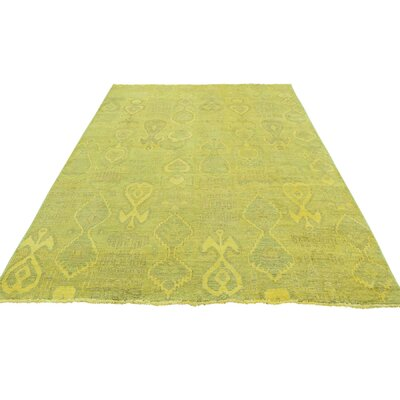 Cast Ikat Overdyed Oriental Hand-Knotted Yellow Area Rug