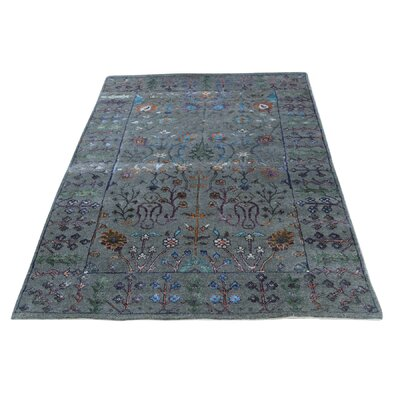 Crafts Oriental Hand-Knotted Silk Gray Area Rug