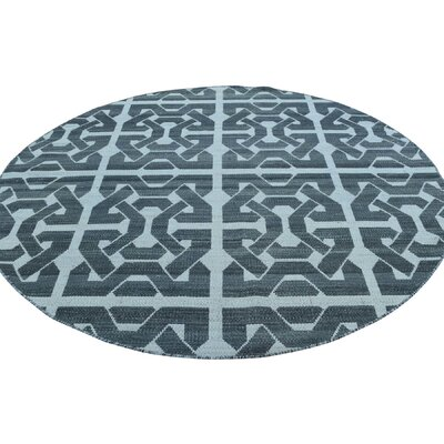 Reversible Flat Weave Durie Kilim Oriental Hand-Knotted Black Area Rug
