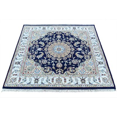 300 KPSI Nain Hand-Knotted Silk Blue Area Rug
