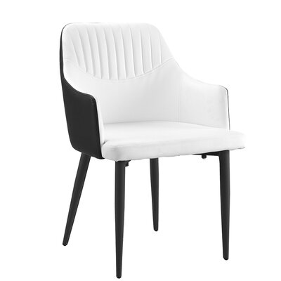Jouett Upholstered Dining Chair Upholstery Color: Black/White