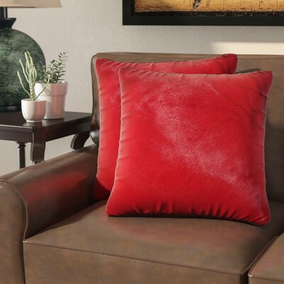 Graham Leather Throw Pillow Color: Wine