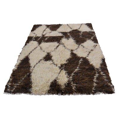One-of-a-Kind Yasmine Plush Shaggy Hand-Knotted Area Rug Rug Size: Rectangle 42 x 61