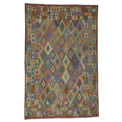 Flat Weave Afghan Kilim Veg Dyes Hand-Knotted Wool Light Green/Brown Area Rug
