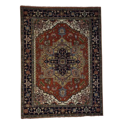 One-of-a-Kind Sager Serapi Heriz Hand-Knotted Red Area Rug
