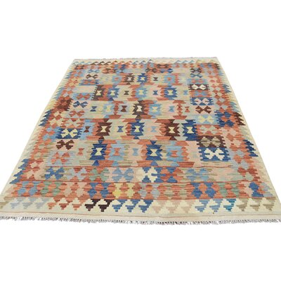 Flat Weave Afghan Kilim Veg Dyes Hand-Knotted Light Orange/Blue Area Rug