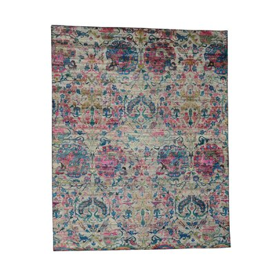 Hunting Oriental Hand-Knotted Silk Dark Pink/Blue Area Rug