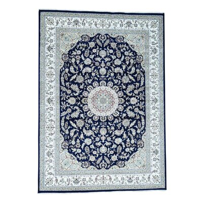 300 KPSI Nain Oriental Hand-Knotted Silk Blue Area Rug