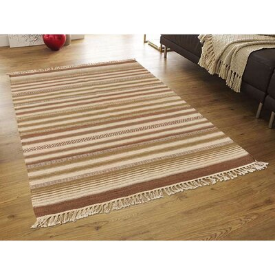 Striped Durie Kilim Flat Weave Reversible Hand-Knotted Wool Light Brown/Beige Area Rug